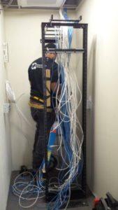 bridge cable techs installing cabling